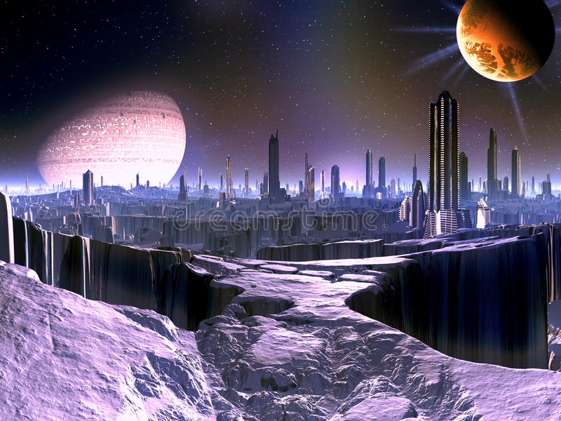 City On Dying Alien World With Satellite Ship In O Royalty Free Stock Photo