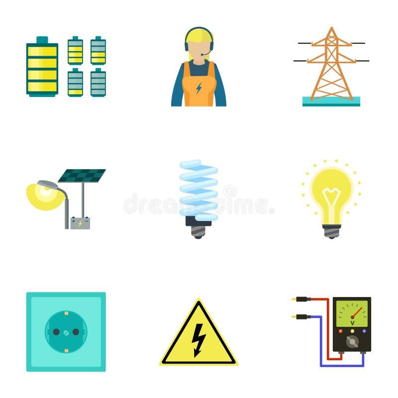 City electric energy icon set, flat style royalty free illustration