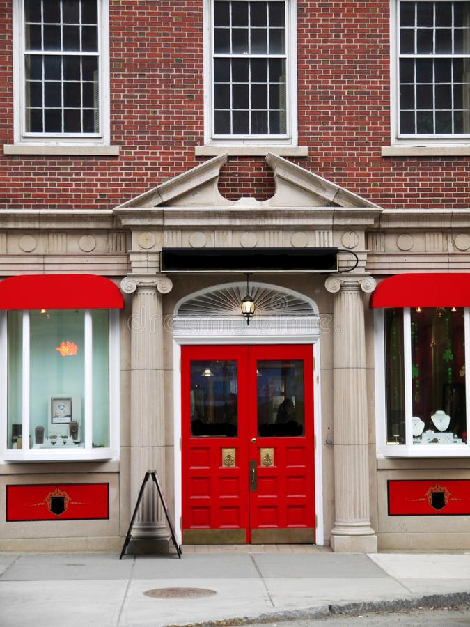 City: Elegant Red Store Front Stock Images