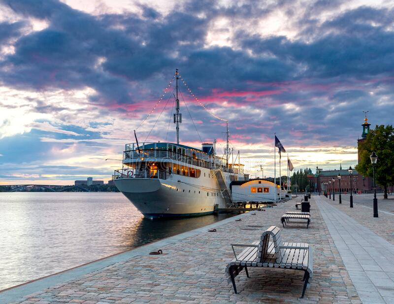 Stockholm. City embankment at sunrise. stock photography