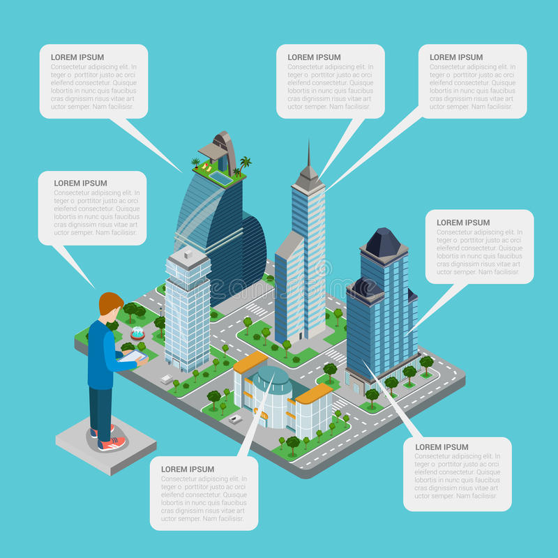 isometric_city_meeting_navigation stock illustration