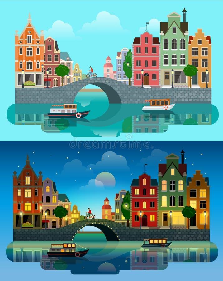 City Europe flat vector: river canal, bridge, historic buildings. Flat cartoon multicolor colorful historic buildings city town set day and sunset night vector illustration