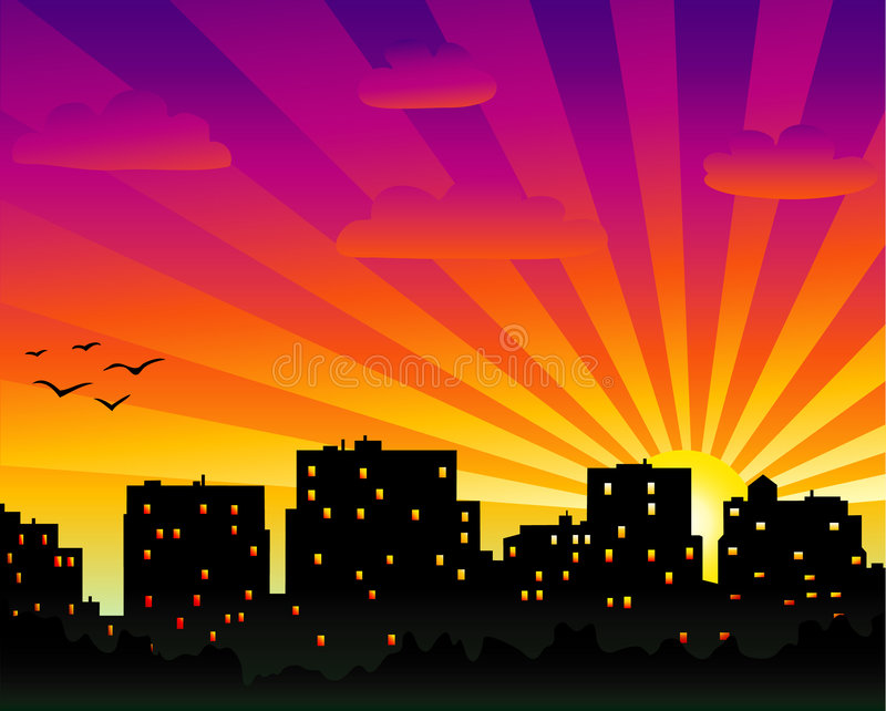 City in the evening royalty free illustration