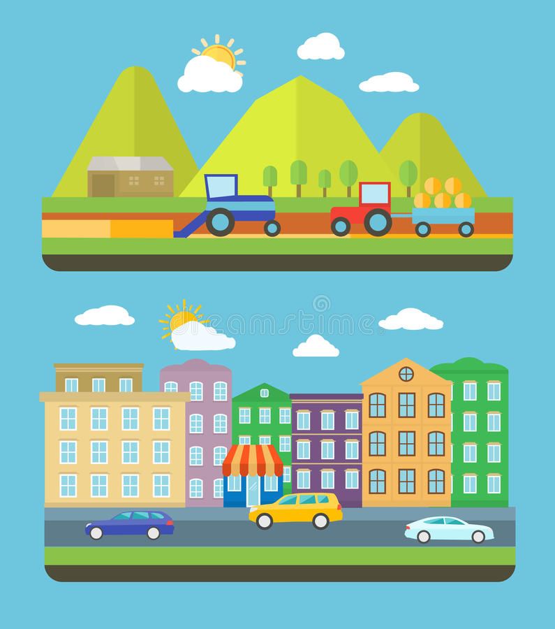 City and farm vellage stock illustration