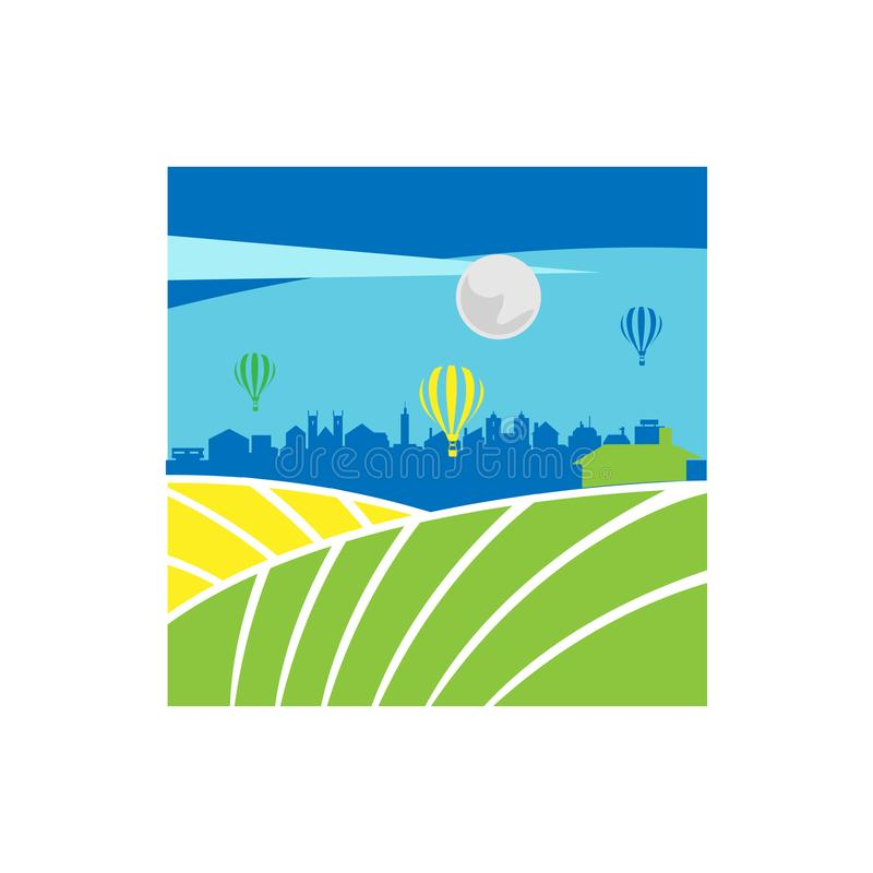 City and farming illustration design vector. Conceptual icon for natural products agriculture bio and organic vegan stores stock illustration
