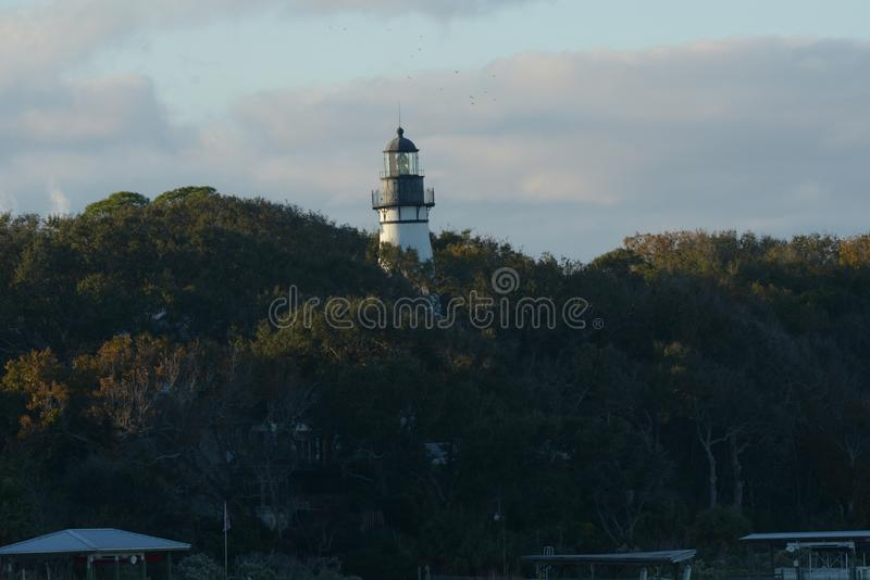 The Amelia Island lighthouse beam of light can be seen fifteen miles away. The City of Fernandina Beach received possession of the Amelia Island lighthouse from royalty free stock photography