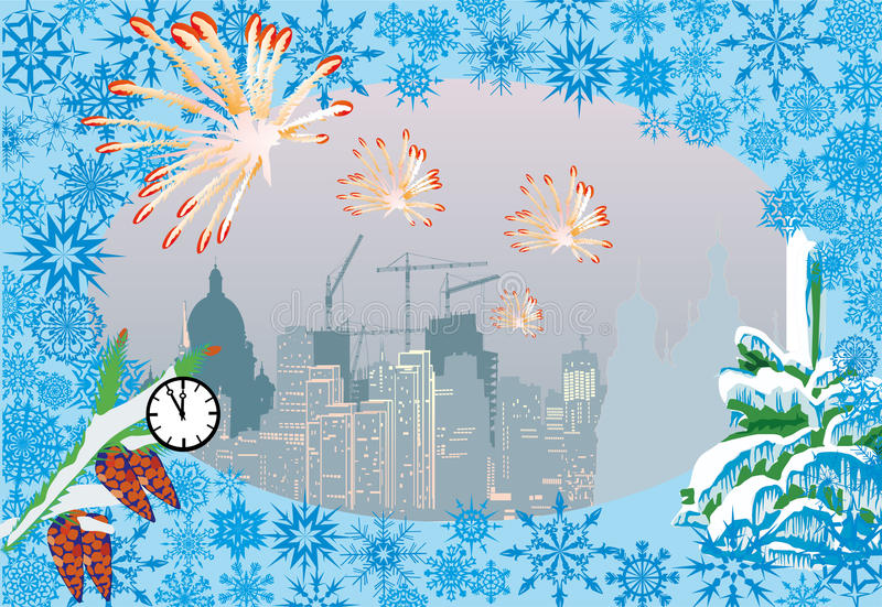 Download City And Firework Christmas Illustration Stock Vector - Image: 16606357
