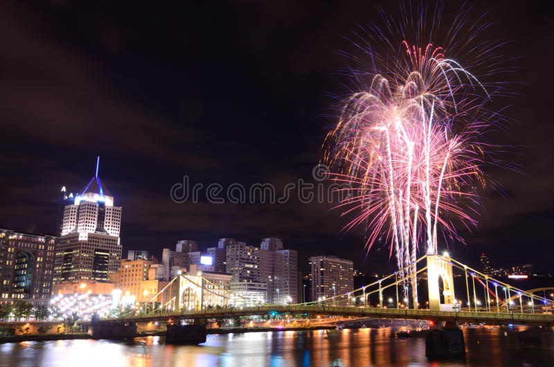 Download City Fireworks stock image. Image of downtown, buildings - 26131659