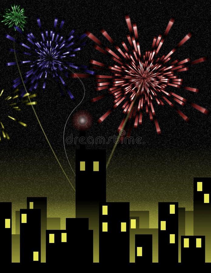 city fireworks over στοκ φωτογραφία με δικαίωμα ελεύθερης χρήσης