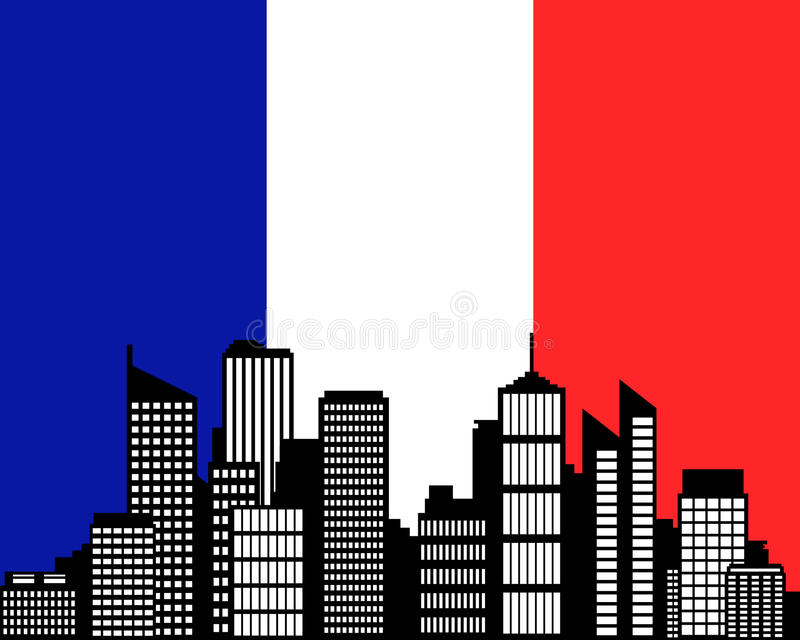 City And Flag Of France Royalty Free Stock Photography