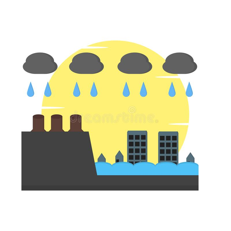 City floods because of deforestation stock illustration