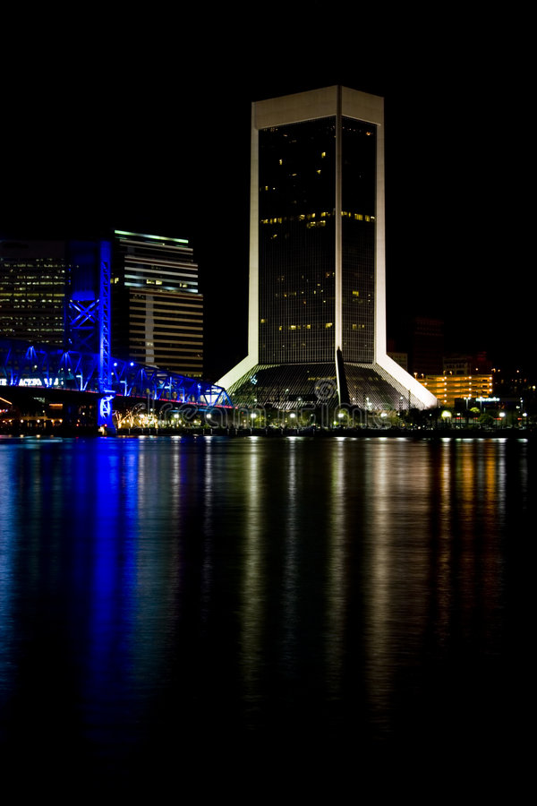 city florida jacksonville night στοκ εικόνες με δικαίωμα ελεύθερης χρήσης