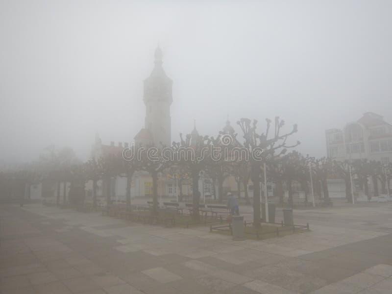 City on the fog. stock photography