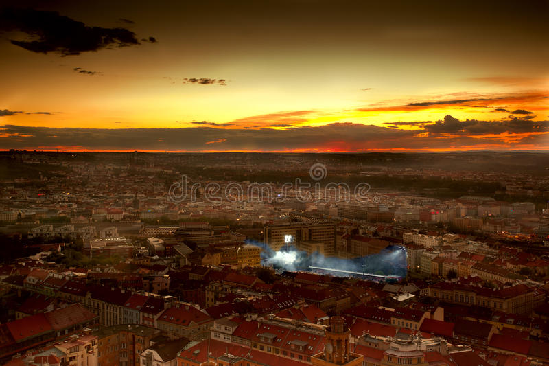 City with football stadion royalty free stock photo