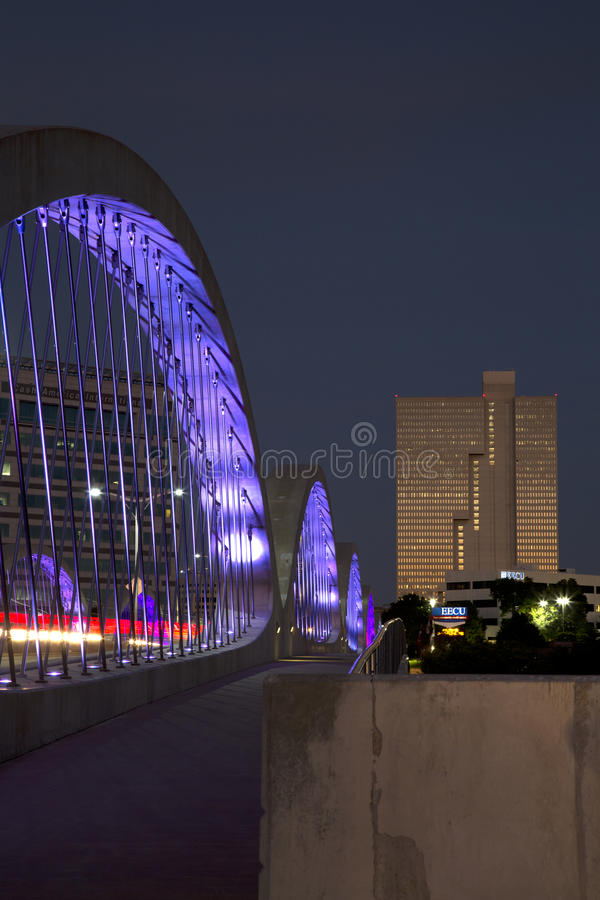 City Fort Worth night scenes. Beautiful West 7th street bridge and downtown Fort Worth night scenes, TX USA stock images
