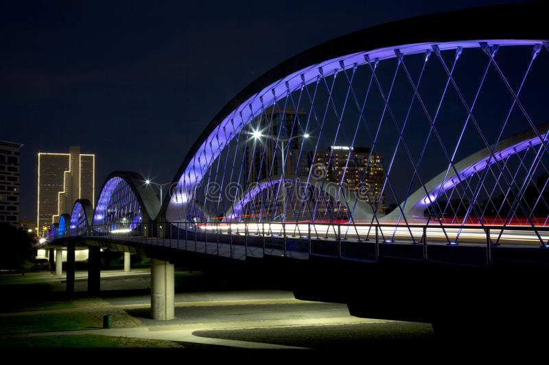 City Fort Worth night scenes TX. Beautiful West 7th street bridge and downtown Fort Worth night scenes, TX USA royalty free stock photos