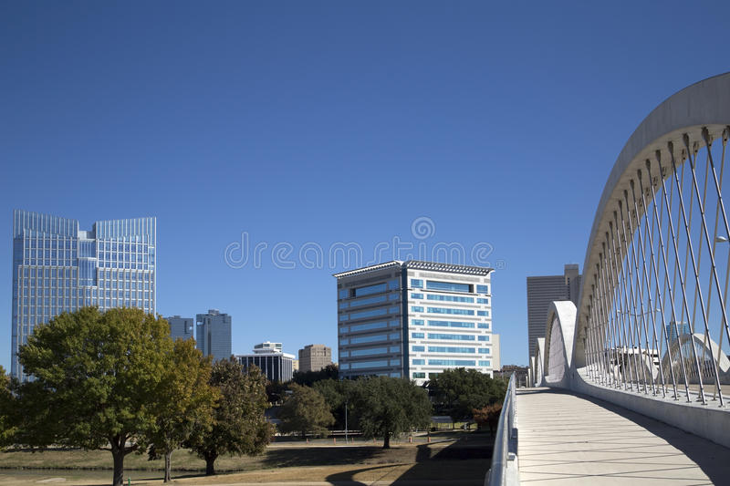 City Fort Worth TX. West 7th street bridge and downtown Fort Worth TX, USA royalty free stock photo