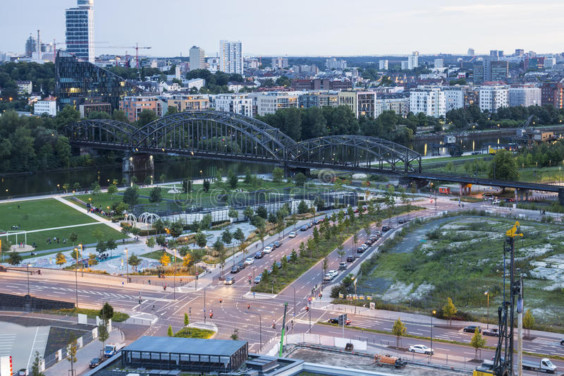 City Frankfurt am Main, Germany in the early twilight. View fro royalty free stock image
