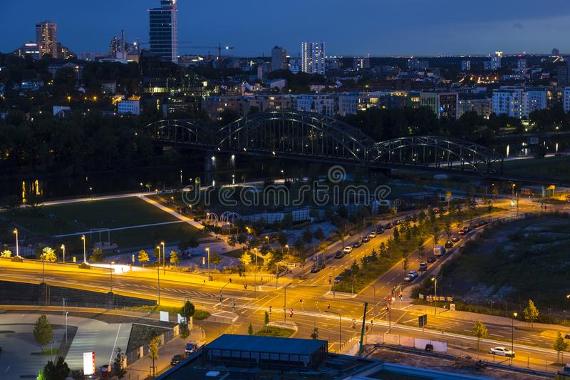 City Frankfurt am Main , Germany at night. View from above stock photos