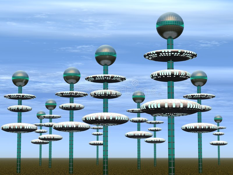 City of the future. Spikes with the spheres located on them - (replacing houses in our representation stock illustration