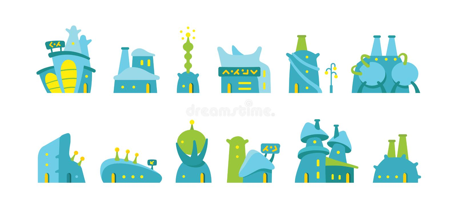 City future fantastic Set of alien buildings for game design. Vector stock illustration. royalty free illustration