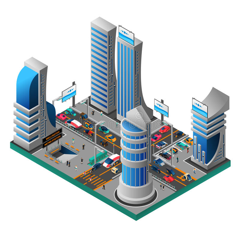 City Of Future Isometric Template stock illustration