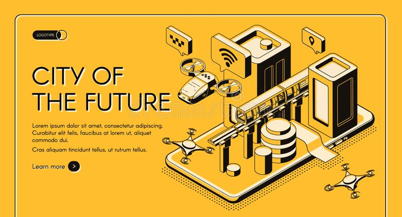 City of future isometric vector web banner. Smart technologies for future city citizen isometric vector web banner, landing page template. Flying taxi, postal vector illustration