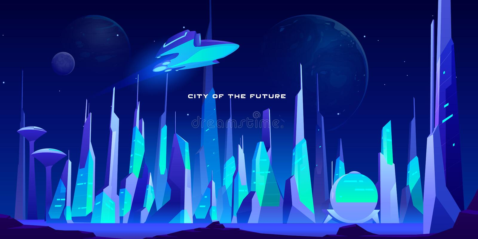 City future at night in neon lights, architecture. City of future at night in neon lights. Spaceship flying above futuristic cityscape with glowing illumination royalty free illustration
