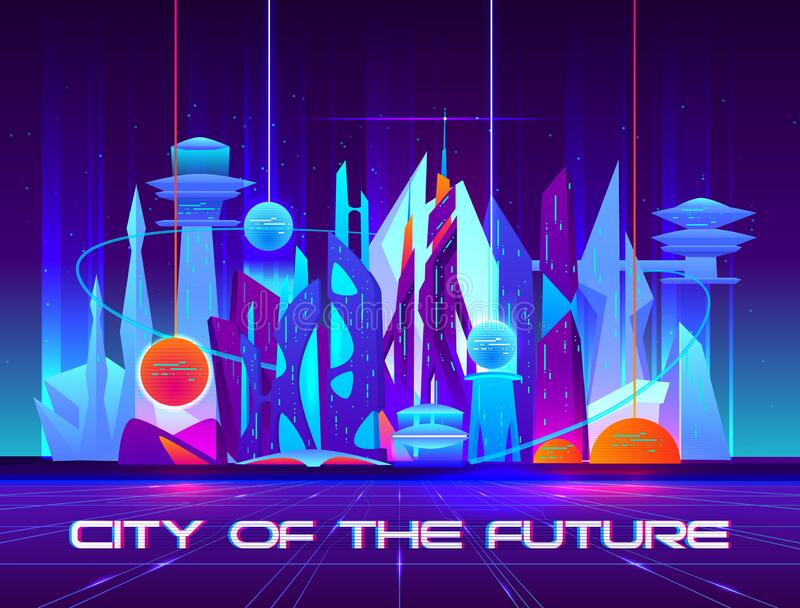 City of future at night with vibrant neon lights. And shining spheres. Urban landscape, Futuristic metropolis with glowing buildings and skyscrapers. Cartoon vector illustration