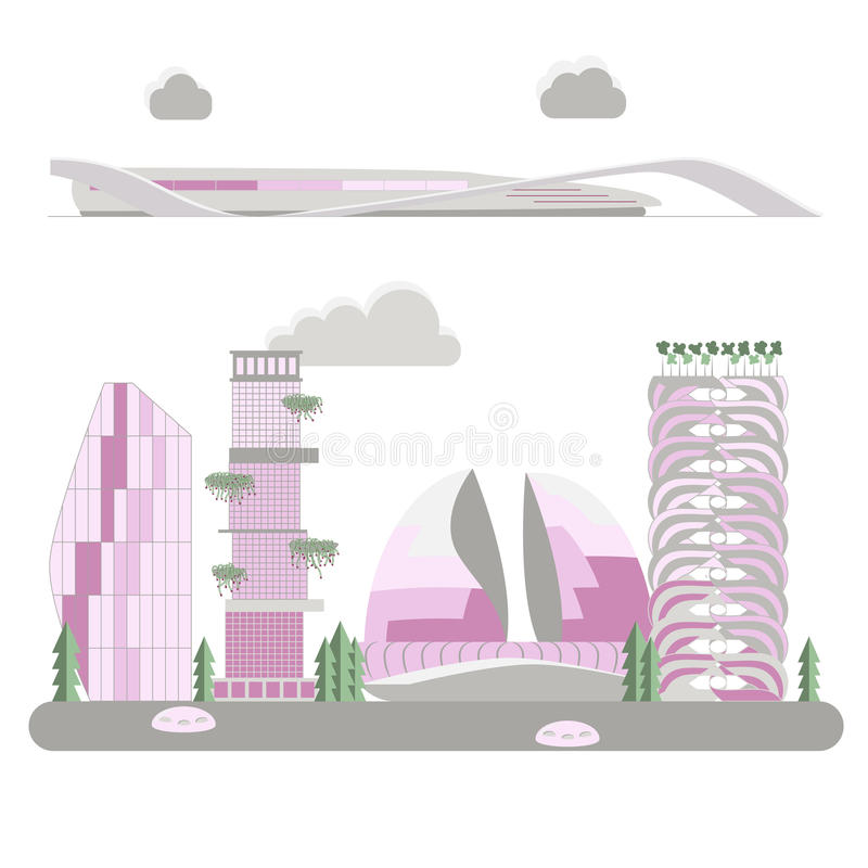 City of the future. In style flat suitable for illustration of articles, advertising construction companies banner or flyer, vector illustration stock illustration
