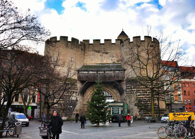 The city gate the Hahnentorburg, Cologne stock photo