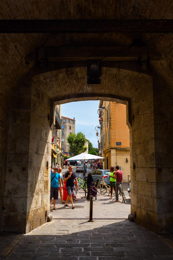 City gate at the historic city wall in Antibes, France stock photos