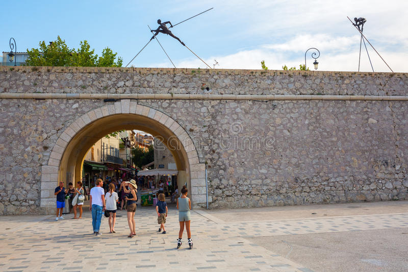 City gate at the historic city wall in Antibes, France stock photo