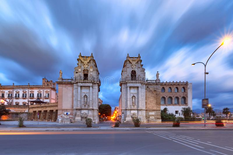 City gate Porta Felice, Palermo, Sicily, Italy. Monumental city gate Porta Felice in Palermo, water-side entrance of the main and most ancient street of the city royalty free stock photography