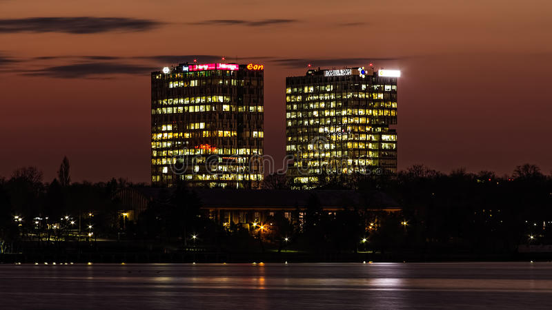 City Gate Towers. (office buildings) - Bucharest at sunset stock photography