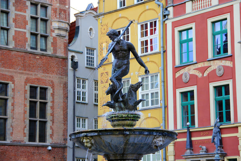 City of Gdansk, Poland. City of Gdansk in Poland, Fountain of Neptun royalty free stock photos