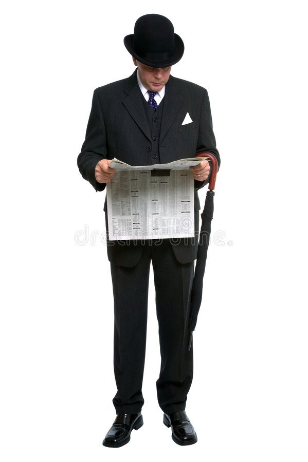 City Gent reading newspaper stock photography