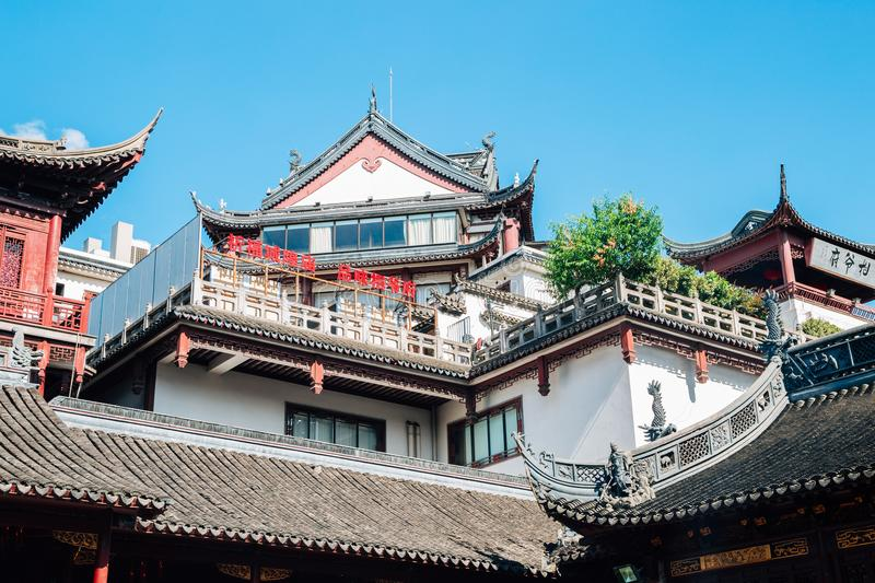 City God Temple Chenghuang Miao in Shanghai, China. Shanghai, China - August 7, 2016 : City God Temple Chenghuang Miao royalty free stock images
