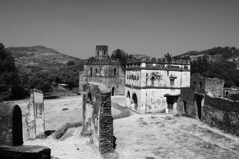 City of Gondar, Ethiopia, Africa. Fasil Ghebbi or Royal Enclosure in the fortress-city built by Emperor Fasilides in the 17th and 18th centuries. The site was royalty free stock photography