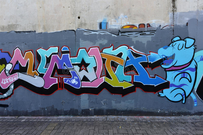 The city graffiti on the cement wall. Of Honghu Park, Shenzhen, China royalty free stock images