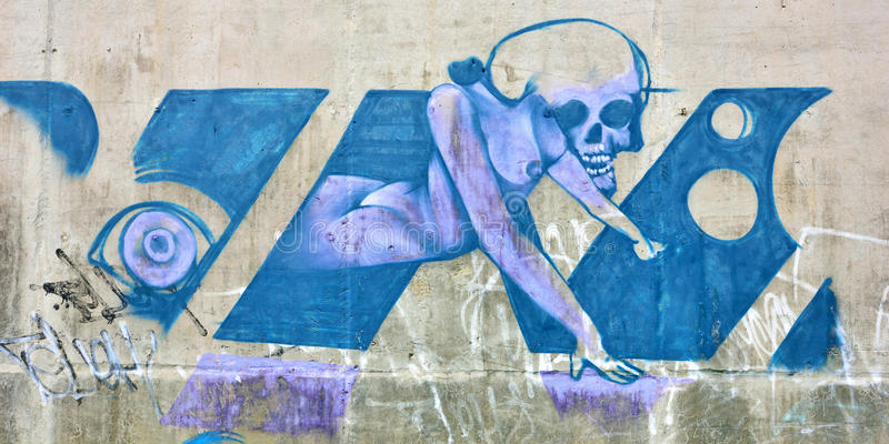 The city graffiti on the cement wall royalty free stock images