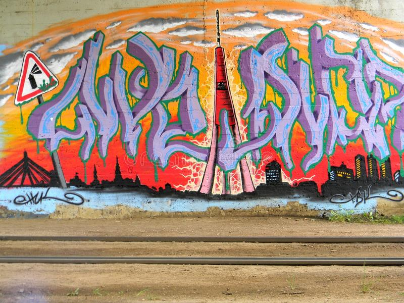 City graffiti. The wall with city graffiti stock images