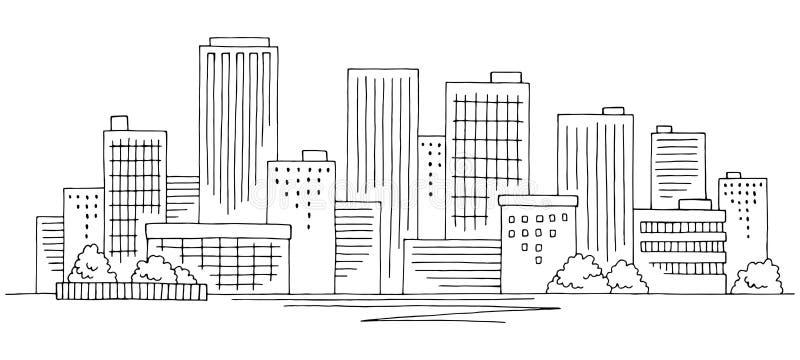 City graphic black white cityscape skyline sketch illustration vector royalty free illustration