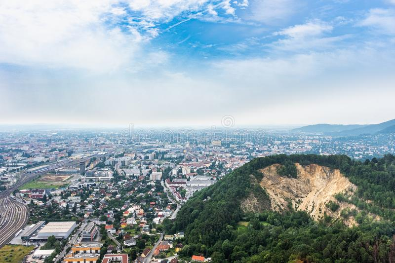 City Graz aerial view with districts Gösting, Eggenberg and quarry stock photography