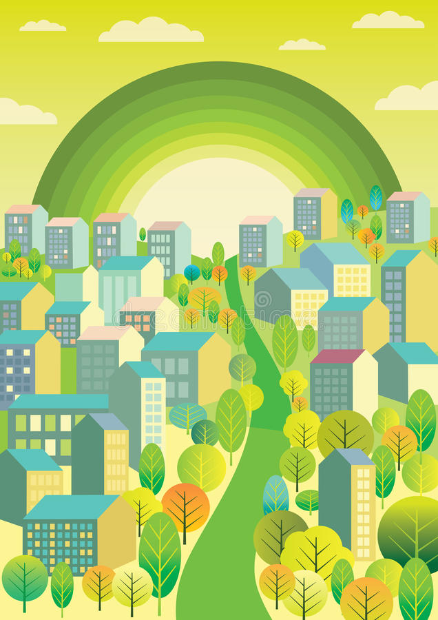 City with a green rainbow. A city landscape with losts of trees and a green rainbow