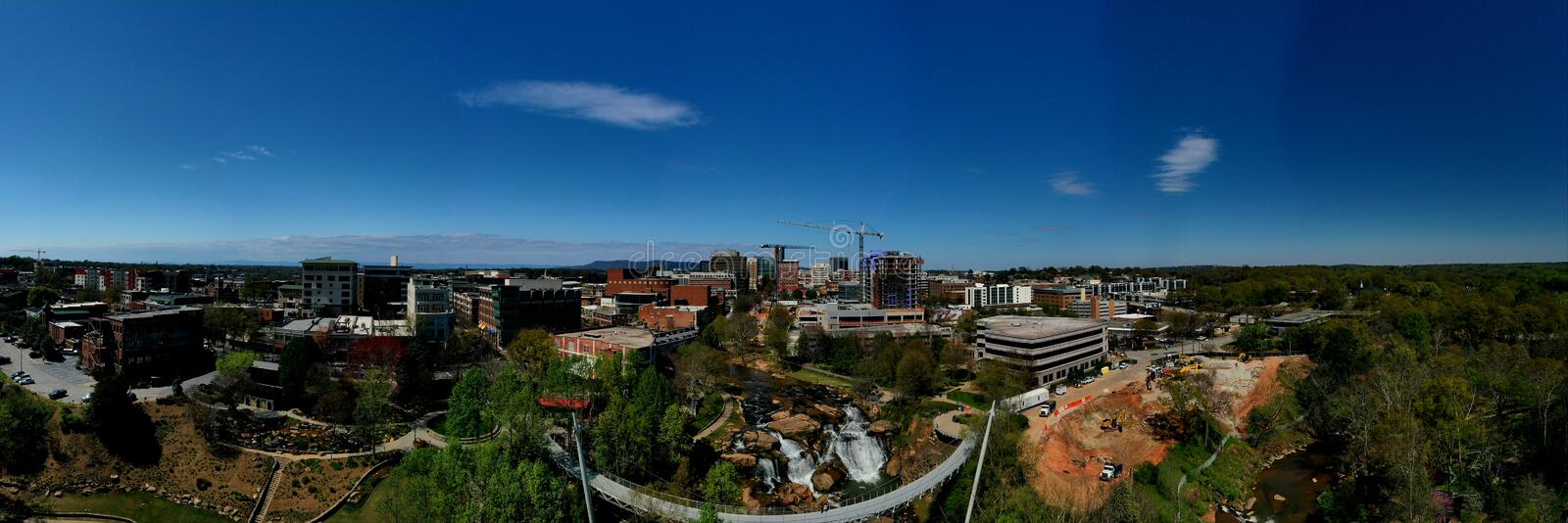 City of Greenville. Panoramic aerial view of city of Greenville, South Carolina with Reedy Falls Bridge in centre royalty free stock photos