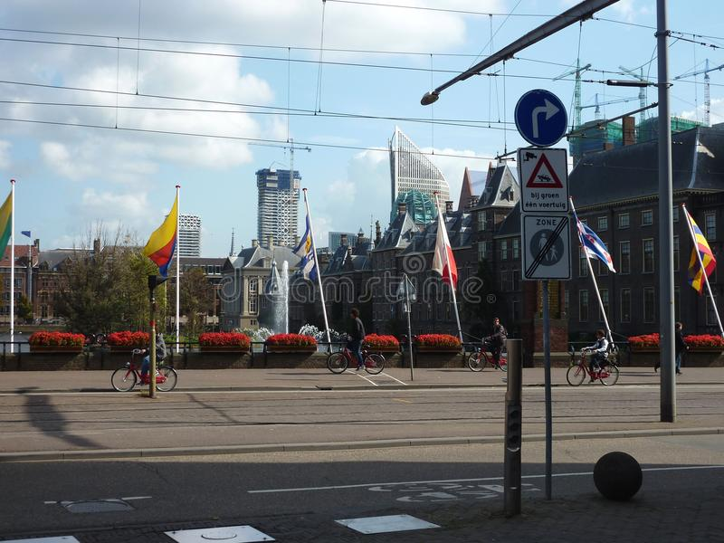 City of the Hague, busy streets and traffic signs. This photo is taken in the Netherlands in the Hague, busy roads and lots of traffic signs are everywhere. On a royalty free stock image