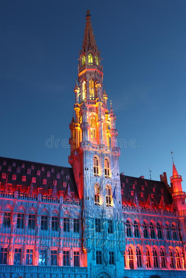 City hall. In Brussel at twillight illuminated during light show royalty free stock image