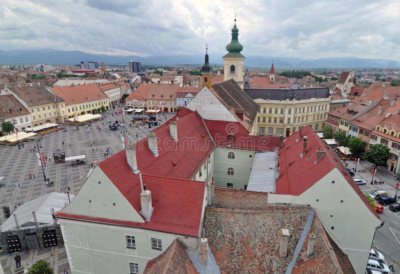 City hall. Big square and small square of Sibiu city - in middle Romania, Transylvania land is now host of International Festival of Theater May 25th - June stock photos