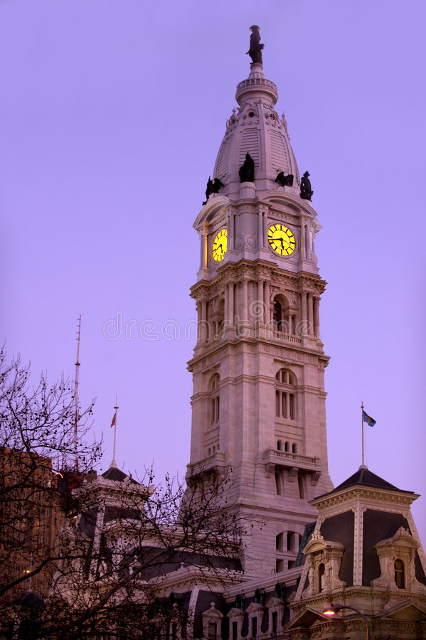 Download City Hall stock photo. Image of illuminated, clock, downtown - 8350876